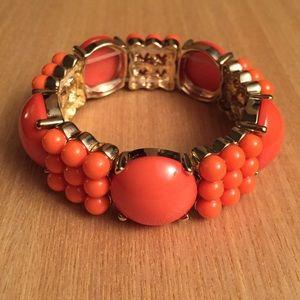 J.Crew Factory Coral Beaded Bracelet